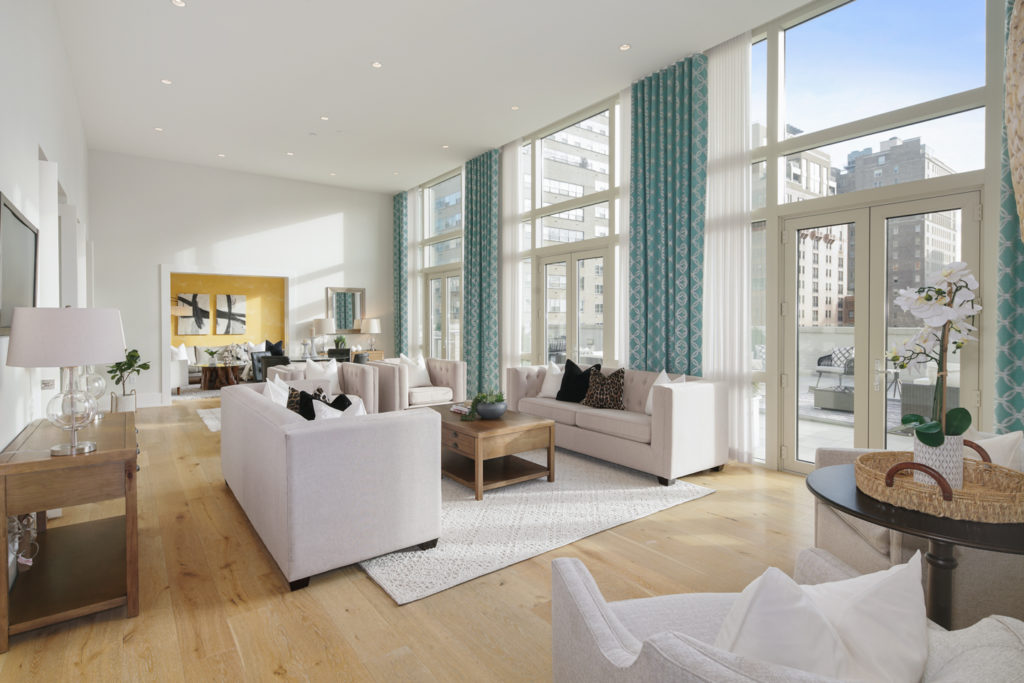 Living room at The Alison luxury condos for rent
