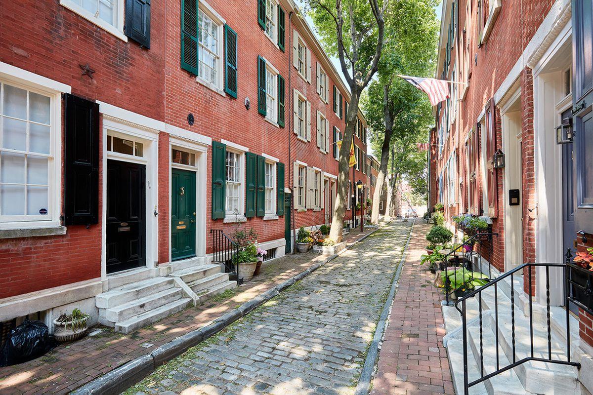 Society Hill Philadelphia street of brick townhouse