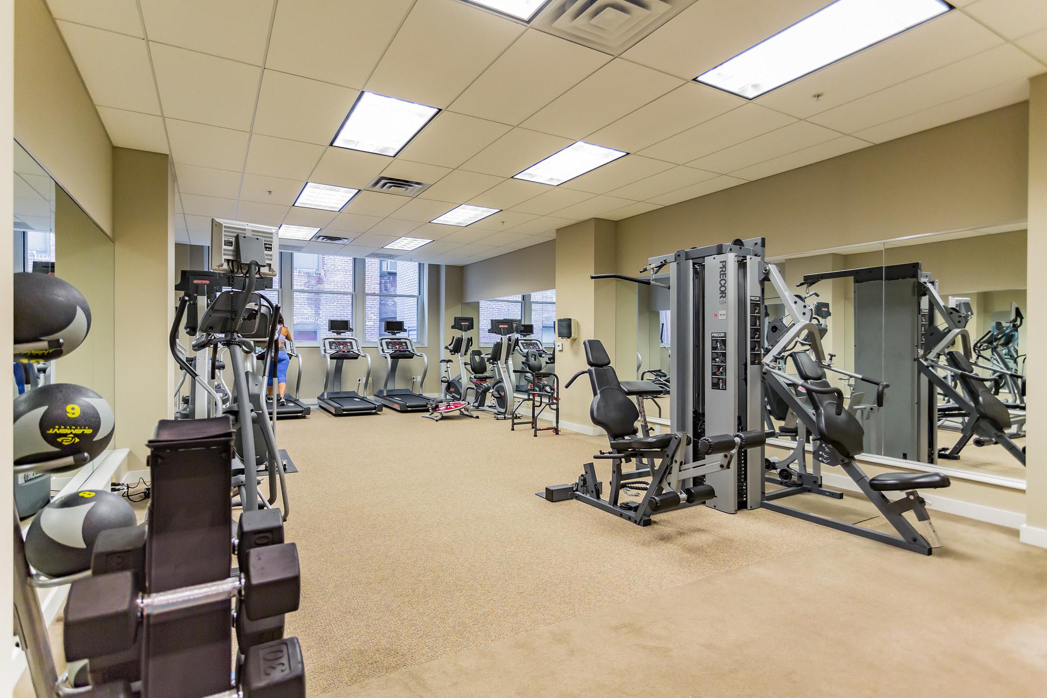 on-site fitness center luxury condo building