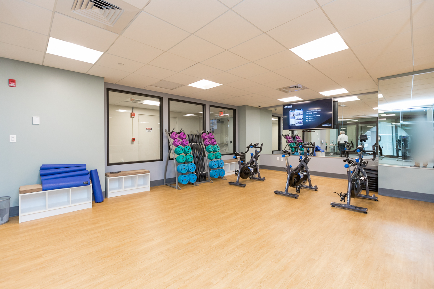 on-site fitness center at a luxury condo building in Philadelphia