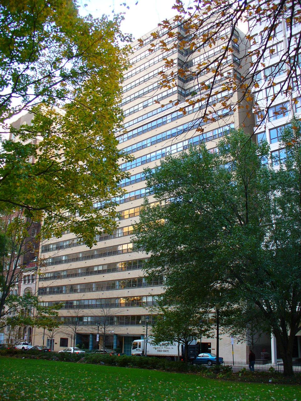 Exterior of luxury high-rise condos in Philadelphia