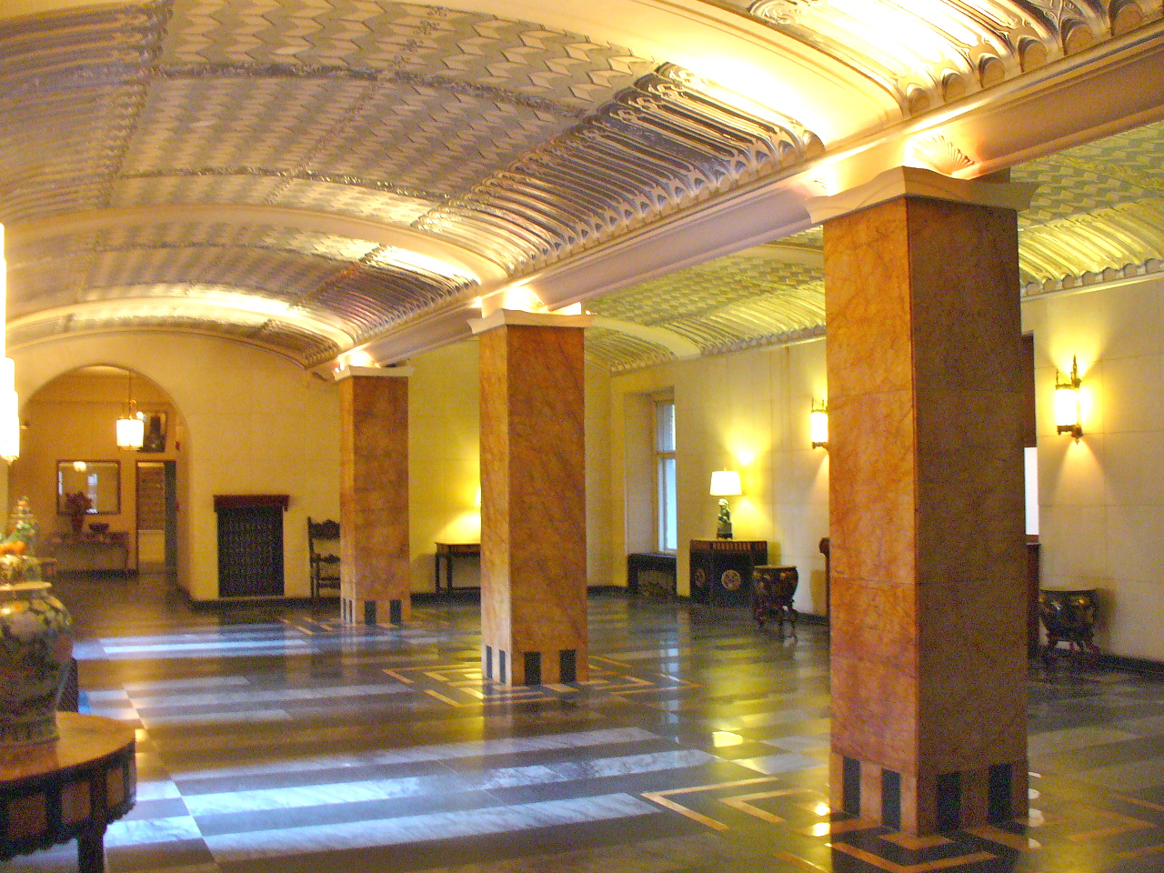 Lobby of luxury condo building Philadelphia