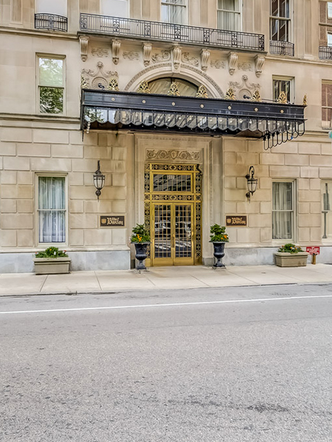 Exterior entrance to Barclay award winning condominium building on the center of Rittenhouse Square
