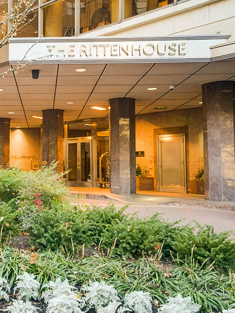 The Rittenhouse exterior sign luxury condo building in Center City Philadelphia