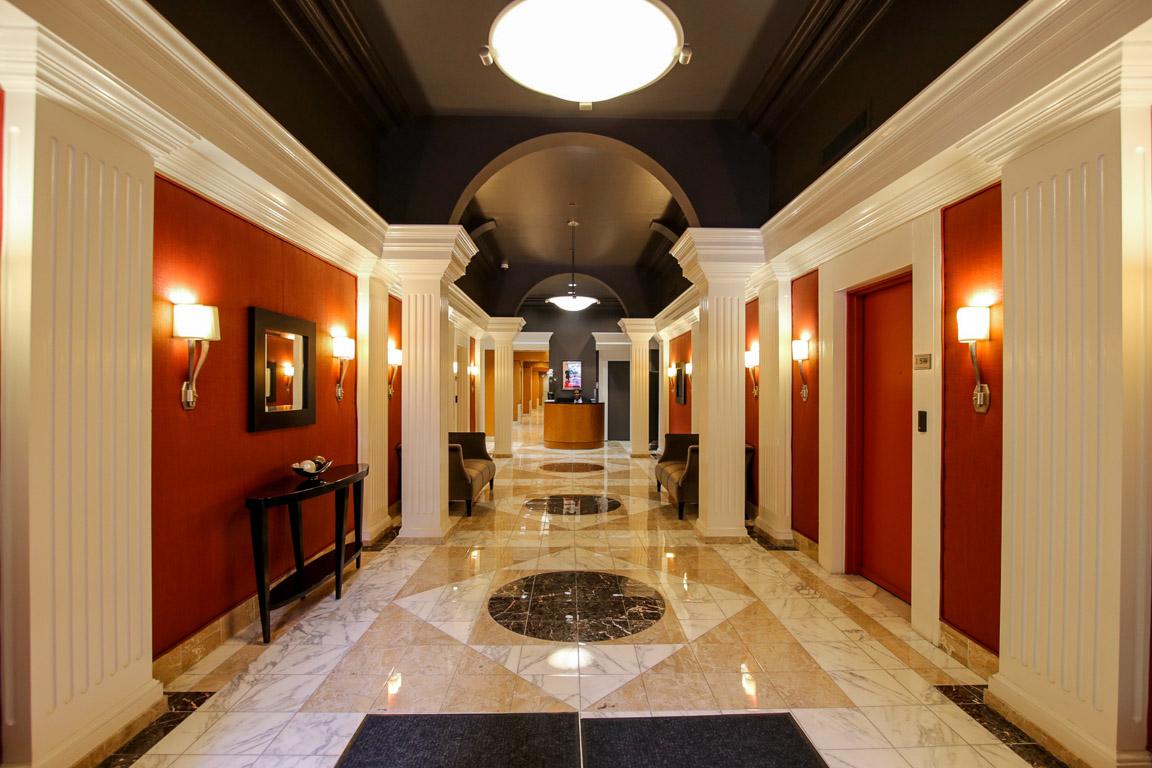 Lobby of Lippincott boutique, luxury condominium building on the center of Washington Square, Philadelphia
