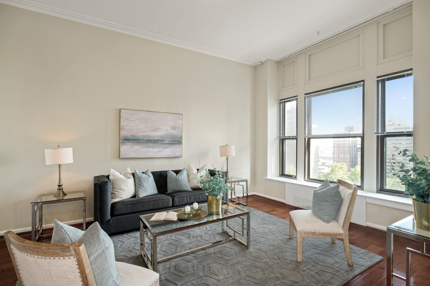 living room at the Wellington luxury condo buildings in Rittenhouse Square