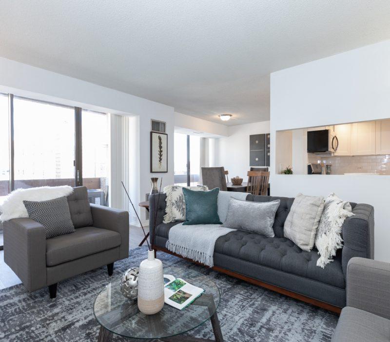 Luxury condo living room in Center City Philadelphia